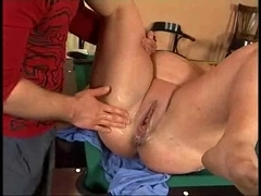 SLUTTY big beautiful woman GRANNY TAKES STRAPON, FIST AND FOOT