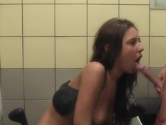 Young Abbey pleasures her boyfriend in toilet