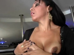 Latina lassie Crystal teases a guy and gives him some oral pleasure