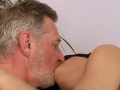 Sexy and naughty girl Amabella is pleasing a handsome grandpa