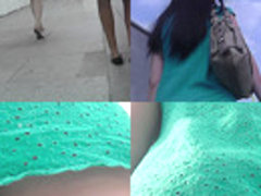 Upskirt footage of g-string of a girl in a-line skirt