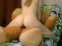 Sexy Non-Professional Licks And Rides Teddy Bear With A Shlong