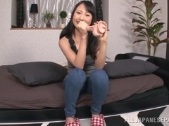 Japanese AV model enjoys a hot masturbation session