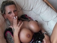 Sexy Tattoed Cougar Smokin' and Playing
