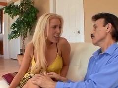 Hot babe nailed as husband jerks off