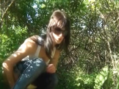 Outdoor pissing girl caught on voyeur's camera