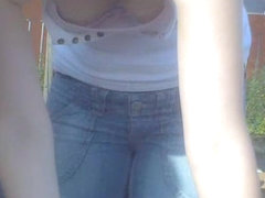 Small titted doll in tight jeans steamy downblouse