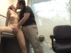 Lucky Asian babe receives a creampie at the end