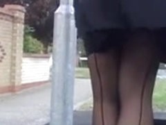 black seamed nylons windy upskirt