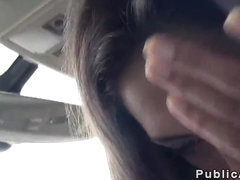 Brunette student sucks dick in car in public
