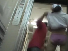 Nurse on the sharking video exposes her panty in the lift