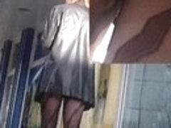 Cute tracery tights upskirt