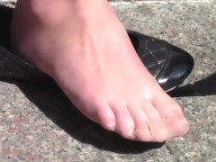 Candid Shoeplay Feet Nylons Close Up