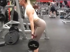 Brunette and blond fit chicks exercising