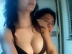 Busty Asian sucked my rod on webcam