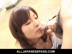 Hot Japanese mother I'd like to fuck in pink undies engulfing schlong