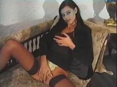 Busty slut enjoys riding dick in an old porn