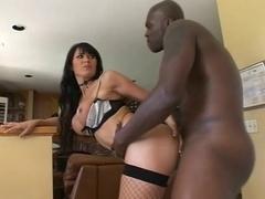 Brunette masturbate before an interracial sex session