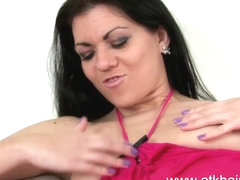 Angel Heart spreads and fingers that hairy pussy
