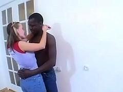 Black dude fucks white gal in interracial porn