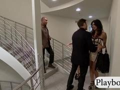 Huge boobs tattooed flight attendants teasing with guys