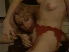 Blonde lesbian cuties in hot retro porn movie