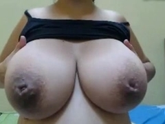 Huge milking juggs, inverted nipples and pussy toy play