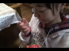 Japanese legal age teenager oral stimulation and use cum for food