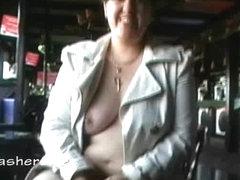 Amateur bbw Kinx upskirt masturbation in a bar and outdoor public nudity of toying fat babe feedin.