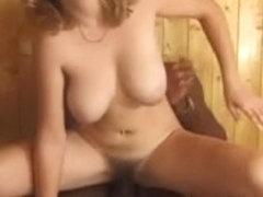 BRITISH DOXY IN THE SAUNA ACQUIRES BBC IN HER UNSHAVED LOVE TUNNEL