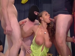 wild gangbang with bigbreast stepmom