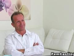 Tall female agent fucks fake hospital doctor