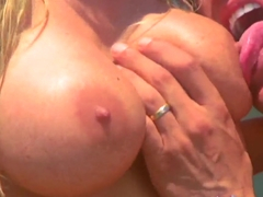 Hueg titted glam blonde Benz banging by the pool