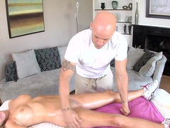 Sexy blonde gets rubbed down