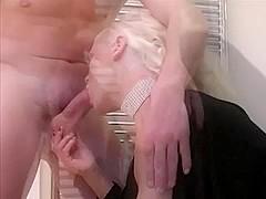 Blonde Slut Wife fucks and taks facial