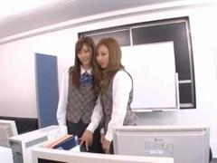 Ayane Sakura and Kotone Amamiya Office ladies in hot Japanese sex