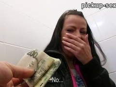 Eurobabe Kristyna banged and jizzed on her back in public toilet