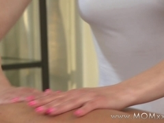 Mom xxx: Blonde MILF rubs more than just his back
