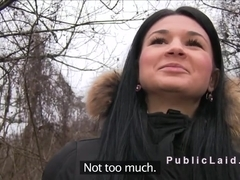 Beautiful Czech babe sucking dick in public pov