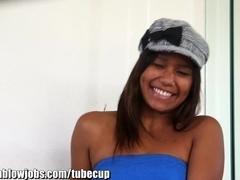 OnlyTeenBJ Ebony teen with cum in her eyes!