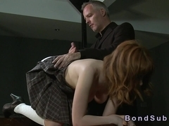 Redhead in bdsm spanked and anal fucked