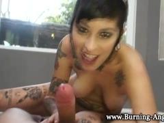 Pussy rubbing gothic slut