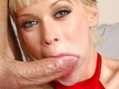 Blond milf sucks big dick she then gets in the ass