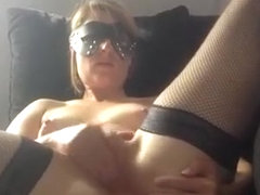 Dude tapes his french wife rubbing one off on the sofa