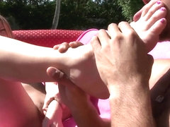 Gorgeous girl Amy Brooke pleasuring feet sucking!