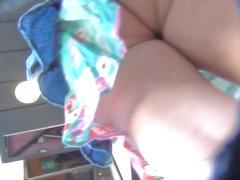 Upskirt Voyeur Pregnant Girl with Thong