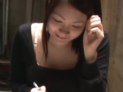 Beautiful Japanese chick falls victim to a couple of downblouse voyeurs.