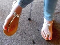 Candid Asian Teen Library Feet in Sandals 3