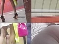 Great voyeur upskirt video exposes a skinny ass