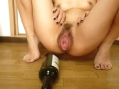 Riding a bottle with my horny hairy beaver